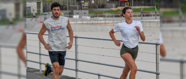 Photos: Georgia Fowler and her boyfriend Nathan Dalah go for a jog on Bondi Beach